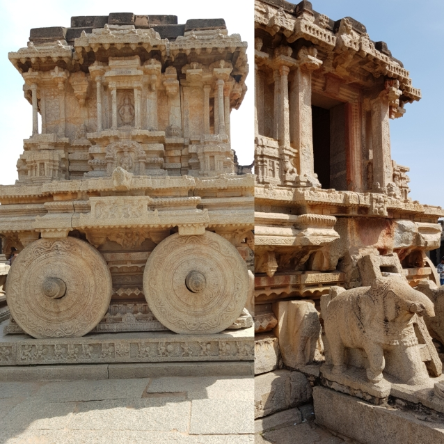 The famous stone chariot inside Vittala temple
